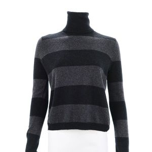 THEORY CHARCOAL GREY/BLACK STRIPED SWEATER SIZE S